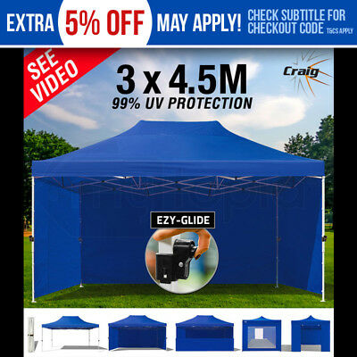 NEW CRAIG 3x4.5m Outdoor Gazebo Ezy-Glide Blue Marquee Tent Canopy Pop Up Party