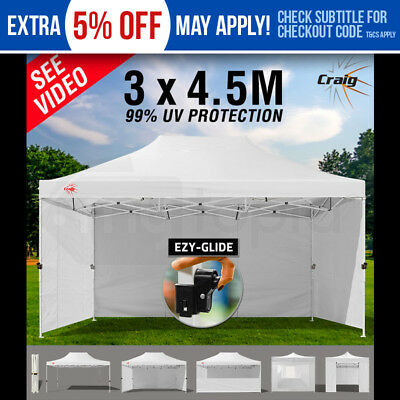 NEW CRAIG White Gazebo Tent 3x4.5m Outdoor - Folding Marquee Shade Canopy Pop Up