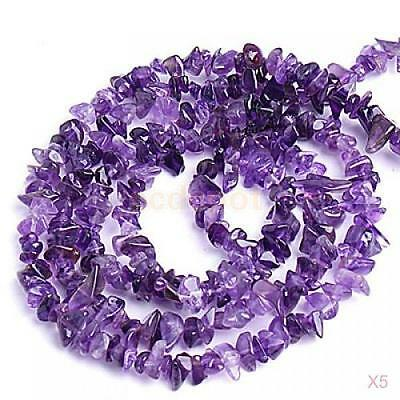 5x Gemstone Chips Loose Beads- Natural Amethyst 5-10mm/34""