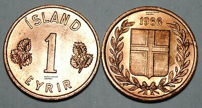 Iceland 1966 1 Eyrir Coin Unc from Mint Bag BU Nice KM# 8