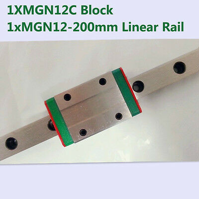 MR12 12mm linear rail guide MGN12 length 200mm with mini MGN12C linear block