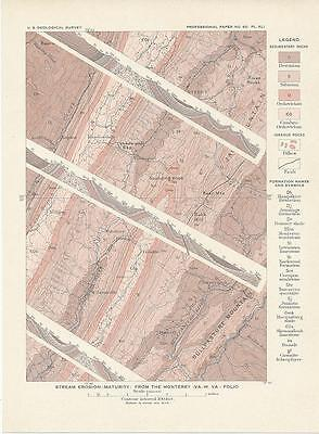 Monterey Virginia 1908 original antique lithograph United States topographic map