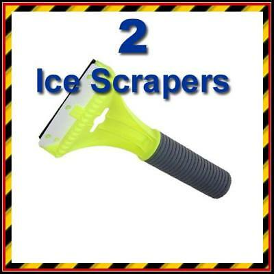 2 x Car Ice Scraper with Squeegee & Foam Handle Grip - Snow - Frost