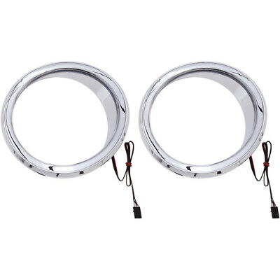 Ciro Chrome LED Front Speaker Bezels Accents for Harley Batwing FLH/T 14-16