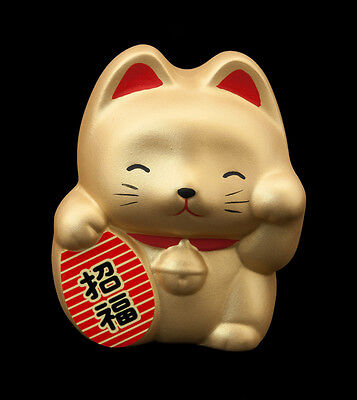 Tirelire Chat Japonais dorè Maneki Neko en Ceramique Made In Japan  61-B11