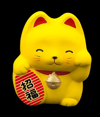 Tirelire Chat Japonais Jaune Maneki Neko En Ceramique Made In Japan  70-CA4