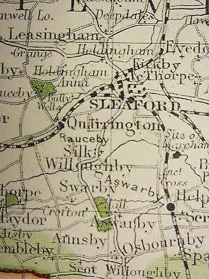 1920 COUNTY MAP of LINCOLNSHIRE ~ GRANTHAM LOUTH GREAT GRIMSBY RAILWAY TOWNS etc