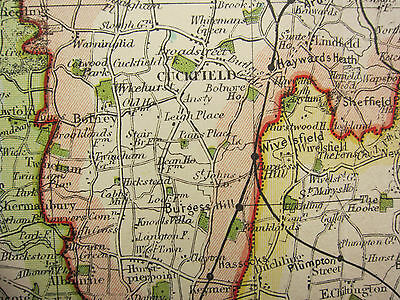 1920 COUNTY MAP of SUSSEX ~ CHICHESTER WORTHING BRIGHTON LEWES RAILWAYS etc