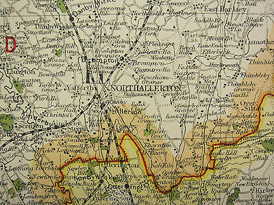 1920 COUNTY MAP of NORTH WEST YORKSHIRE RICHMOND RIPON SKIPTON RAILWAYS