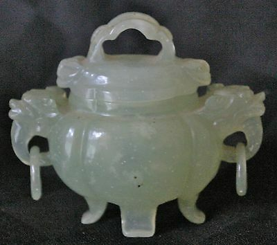 Chinese Light Celadon Jade Hand Carved Miniature Censer Late Qing