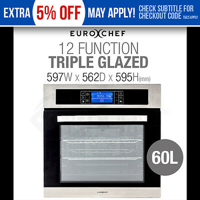 EUROCHEF 60cm Electric Wall Oven - Fan-Forced - 12 Function -Grill Touch Control