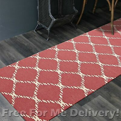 BAILEY WOOL PINK LINK WOVEN KILIM DHURRIE RUNNER 80x300cm **FREE DELIVERY**