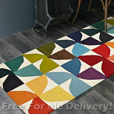 BAILEY WOOL KALEIDOSCOPE WOVEN KILIM DHURRIE RUNNER 80x400cm **FREE DELIVERY**