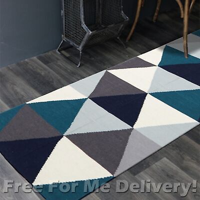 BAILEY WOOL BLUE TRIANGLES WOVEN KILIM DHURRIE RUNNER 80x300cm **FREE DELIVERY**