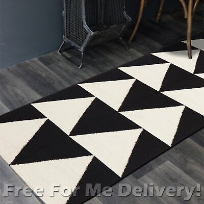 BAILEY WOOL BLACK ARROWS WOVEN KILIM DHURRIE RUNNER 80x400cm **FREE DELIVERY**