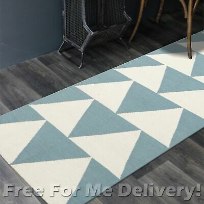 BAILEY WOOL BLUE ARROWS WOVEN KILIM DHURRIE RUNNER 80x300cm **FREE DELIVERY**