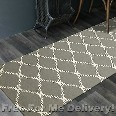BAILEY WOOL GREY LINK WOVEN KILIM DHURRIE RUNNER 80x300cm **FREE DELIVERY**