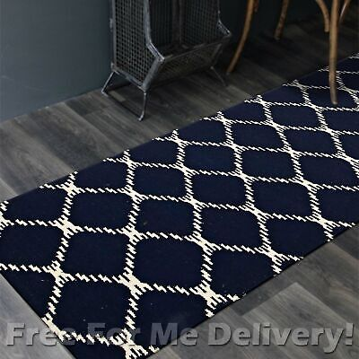 BAILEY WOOL NAVY BLUE LINK WOVEN KILIM DHURRIE RUNNER 80x300cm **FREE DELIVERY**