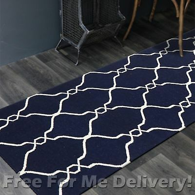 BAILEY WOOL NAVY TRELLIS WOVEN KILIM DHURRIE RUNNER 80x400cm **FREE DELIVERY**