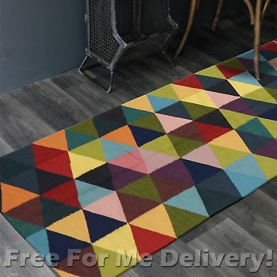 BAILEY WOOL COLOUR TRIANGLES WOVEN KILIM DHURRIE RUNNER 80x400cm FREE DELIVERY**