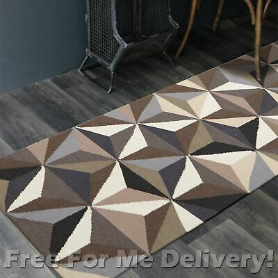 BAILEY WOOL GREY PYRAMIDS WOVEN KILIM DHURRIE RUNNER 80x300cm **FREE DELIVERY**