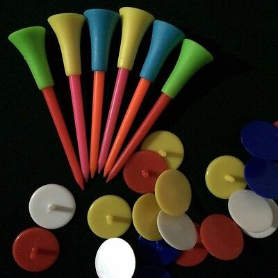 20X 50X 100X Rubber Cushion Top 83mm Golf Tees Golf Ball Markers Pack OBGOF