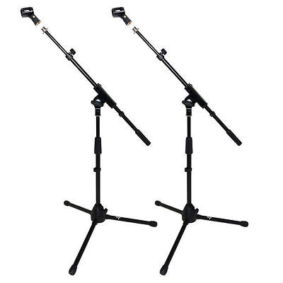 2 X Short Microphone Boom Stand Unbreakable Tripod Base Free Mic Clip DP300