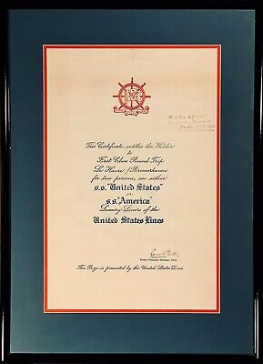 Parchment S.S. UNITED STATES/AMERICA Award w/ Frame  - NAUTIQUES sHiPs WORLDWIDE