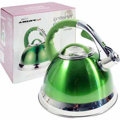 3.5Ltr Camping Caravan Kitchen Green Whistling Kettle