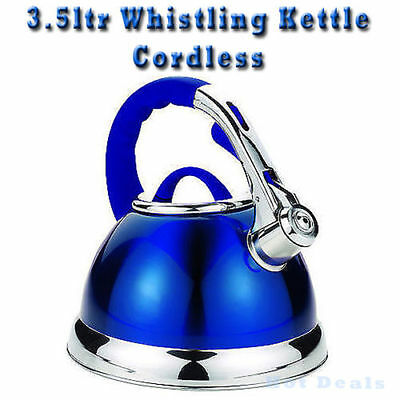 3.5 Litre Stainless Steel Blue Whistling Fast Boil Kettle - Gas / Electric Hobs