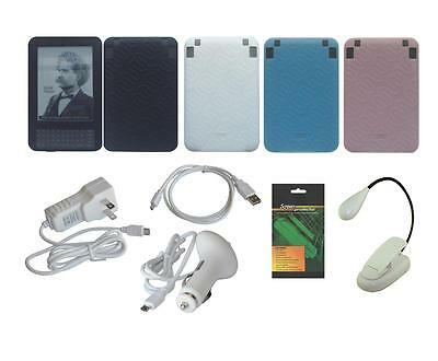 9 Item Accessory Bundle Charger Skin Case for Amazon Kindle Keyboard 3rd Gen