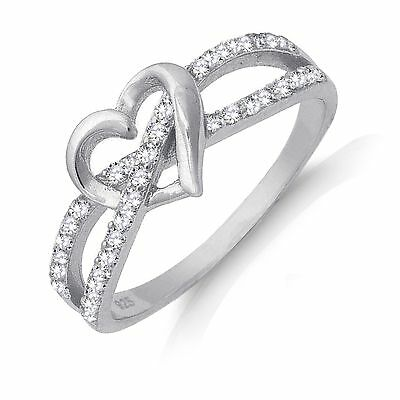 Double Crossover Heart Infinity Celtic Sapphire Sterling Silver Ring Size 3 - 13