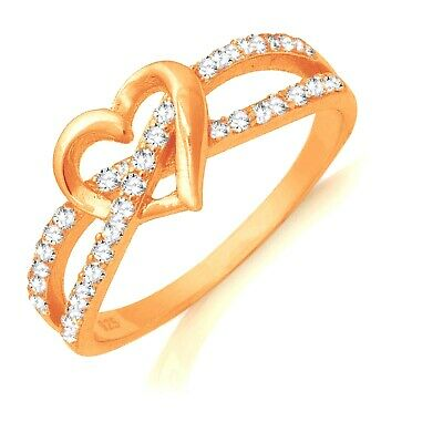 14k Rose Gold Heart Infinity Celtic Sapphire Sterling Silver Ring Size 3 - 13