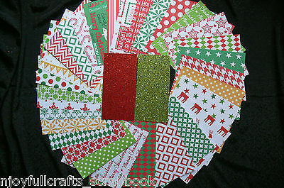 CHRISTMAS 1 -30 Designs 6x6 Paper Pack RED GREEN GOLD WHITE Mix + 2 sml Glitter