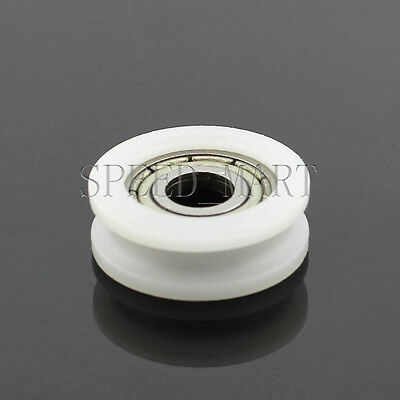 1 pcs U Nylon plastic Embedded 604 Groove Ball Bearings 4*15*6mm Guide Pulley