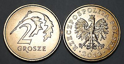 2013 Poland Old Style 2 Grosze Brass Coin BU Very Nice KM# 277