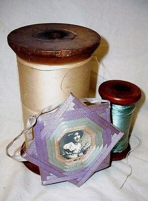 Antique Spool Collection of Two Large Spools and Victorian Thread Photograph