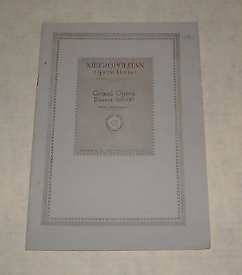 Metropolitan Opera House 1916 - 17 Season Theatre Program Booklet Chaucer Ads