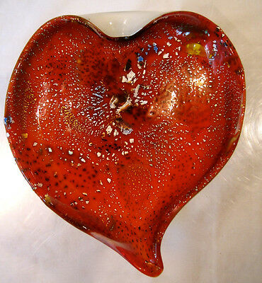 Murano Art Glass Vintage Heart Leaf Bowl~Red & Silver Aventurine~Fratelli Toso