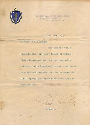 President Calvin Coolidge- TLS Signed in 1919