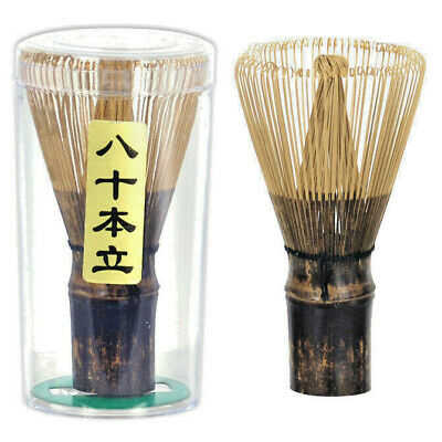 Japanese Matcha Whisk Chasen Black Bamboo 80 Prongs Tea Ceremony Made in Japan