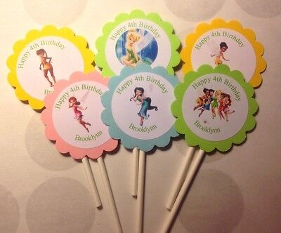 Tinkerbell And Fairies Birthday Customized Cupcake Toppers 12 count