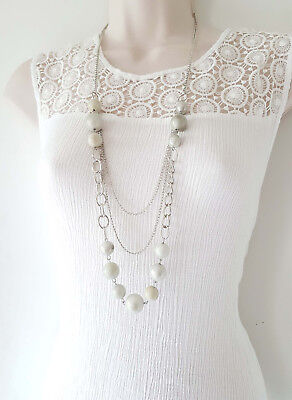 """Gorgeous 36"""" long silver tone 3 layered chain & bead necklace, SLIGHT SECONDS"""