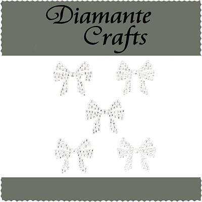 5 Clear Diamante Bows Self Adhesive Rhinestone Craft Embellishment Gems