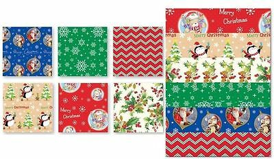 12 Sheets Christmas Gift Wrap Present Wrapping Paper Party Flat Assorted Design