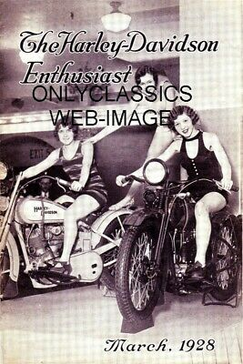 1928 Sexy Pinup Girl Riders On Harley Davidson Motorcycle Photo Great Americana