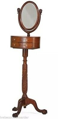 Antique Empire Mahogany Carved Ball & Claw Foot Shaving Stand