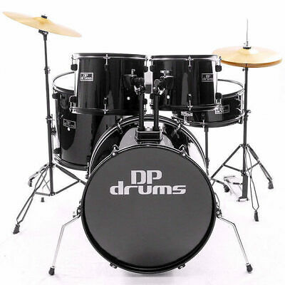 5 Piece Drum Kit Full Size Complete Set Cymbals Stool Black DP Drums
