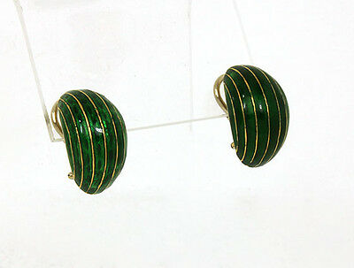 Vintage 18k Yellow Gold Green Enamel Ladies Semi Dome Curve Huggie Earrings