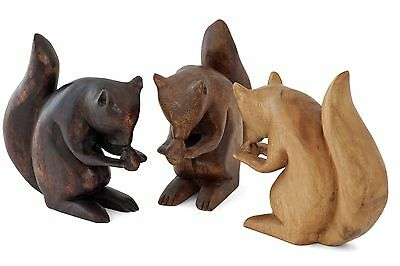"""Wooden Squirrel Ornament handmade Acacia wood carving 7"""". 4 colours available"""